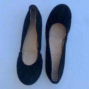 J Crew CeCe Black Suede Ballet Flats Size 6.5